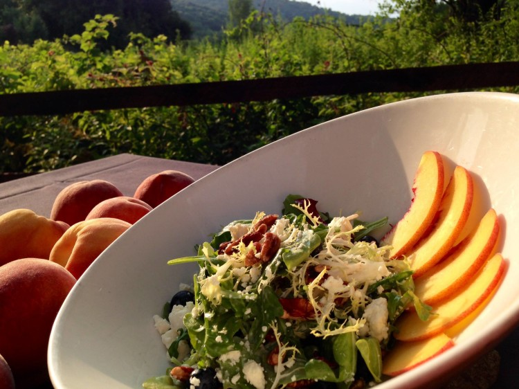 Peach & Blueberry Arugula Salad