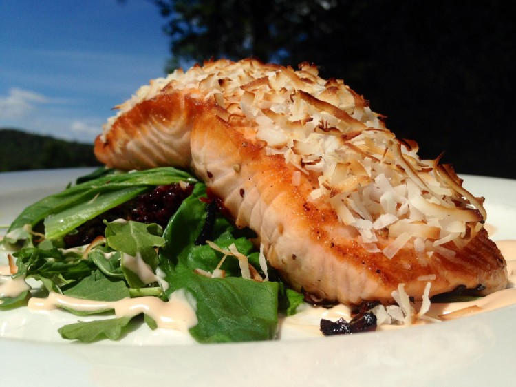 Signature Coconut Crusted Scottish Salmon