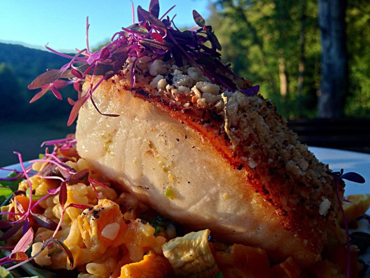 Orange-Hazelnut Crusted Chilean Sea Bass